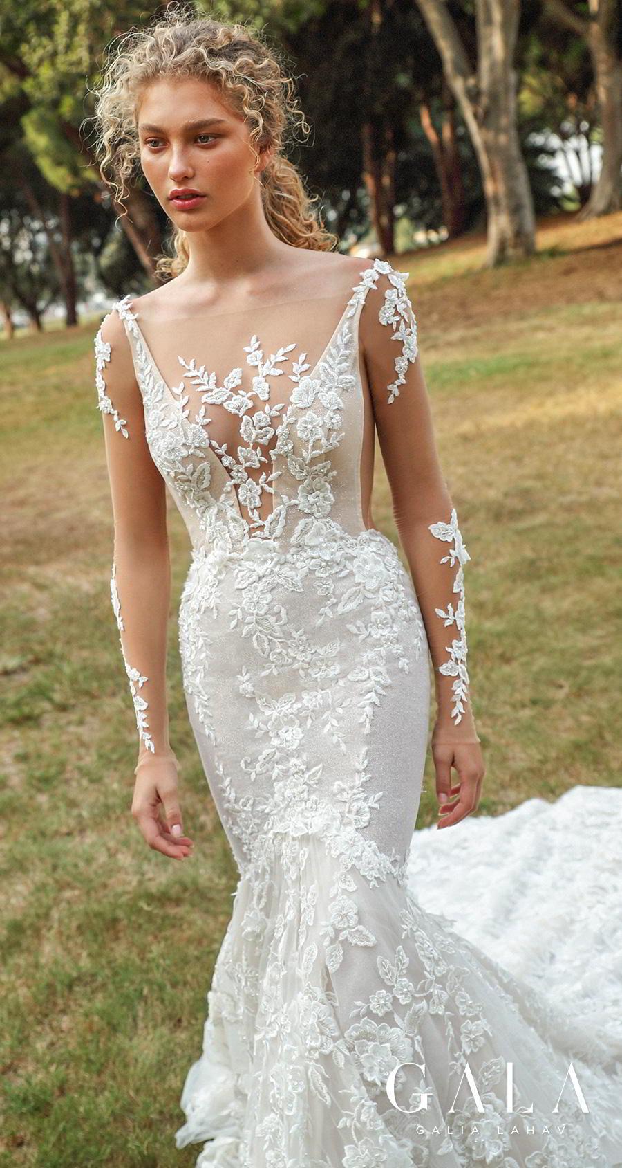 galia lahav gala fall 2019 bridal long sleeves deep v neck full embellishment elegant beautiful mermaid wedding dress backless low open back chapel train (206) mv