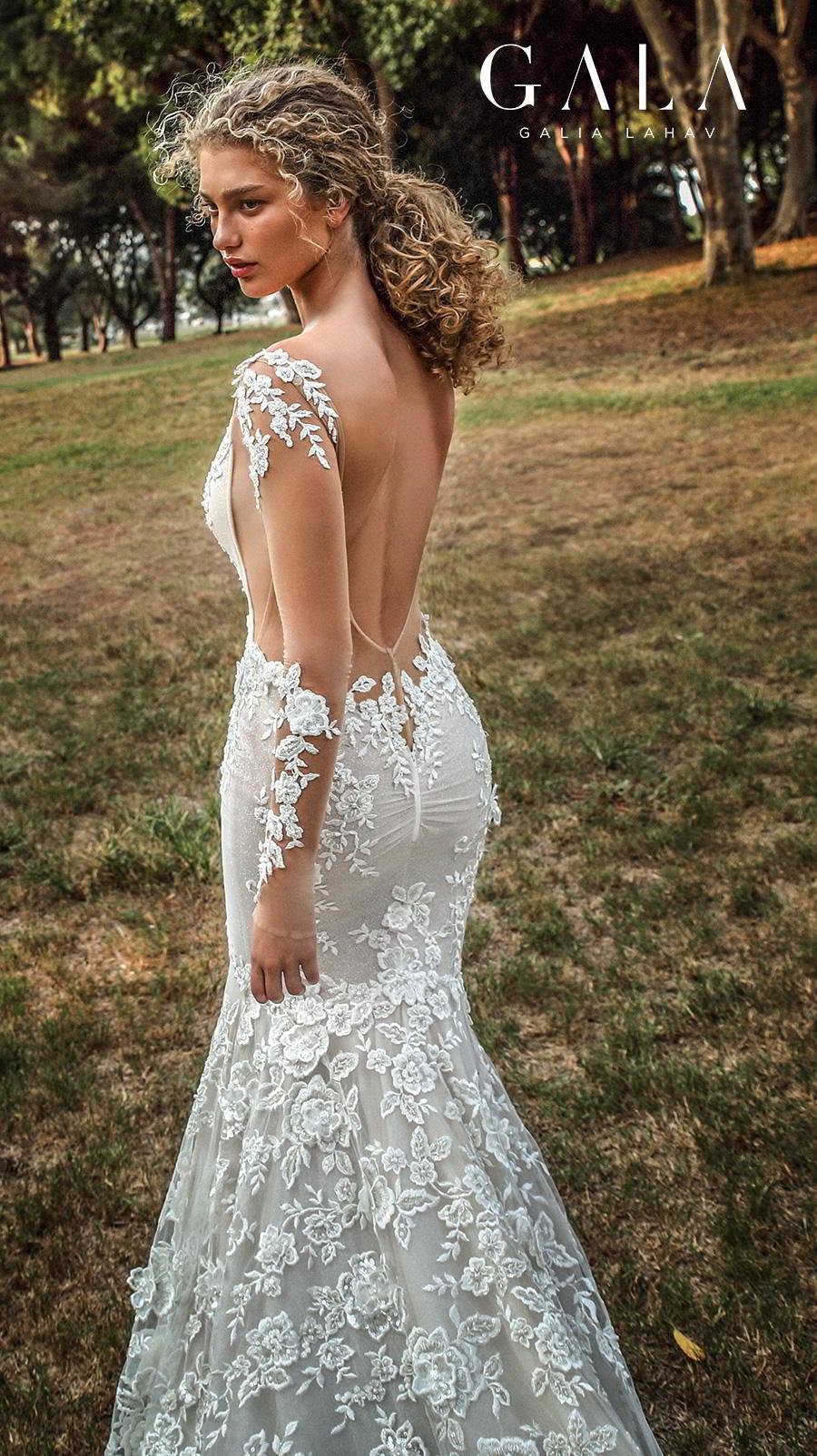 galia lahav gala fall 2019 bridal long sleeves deep v neck full embellishment elegant beautiful mermaid wedding dress backless low open back chapel train (206) zbv