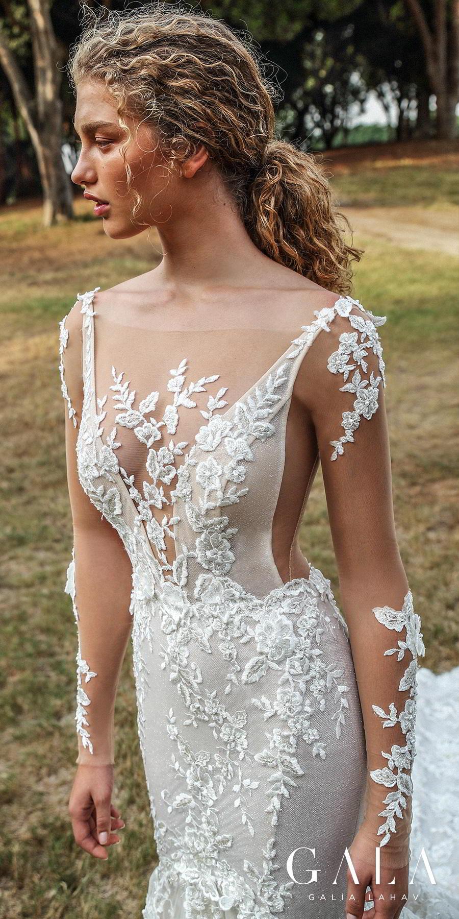 galia lahav gala fall 2019 bridal long sleeves deep v neck full embellishment elegant beautiful mermaid wedding dress backless low open back chapel train (206) zv