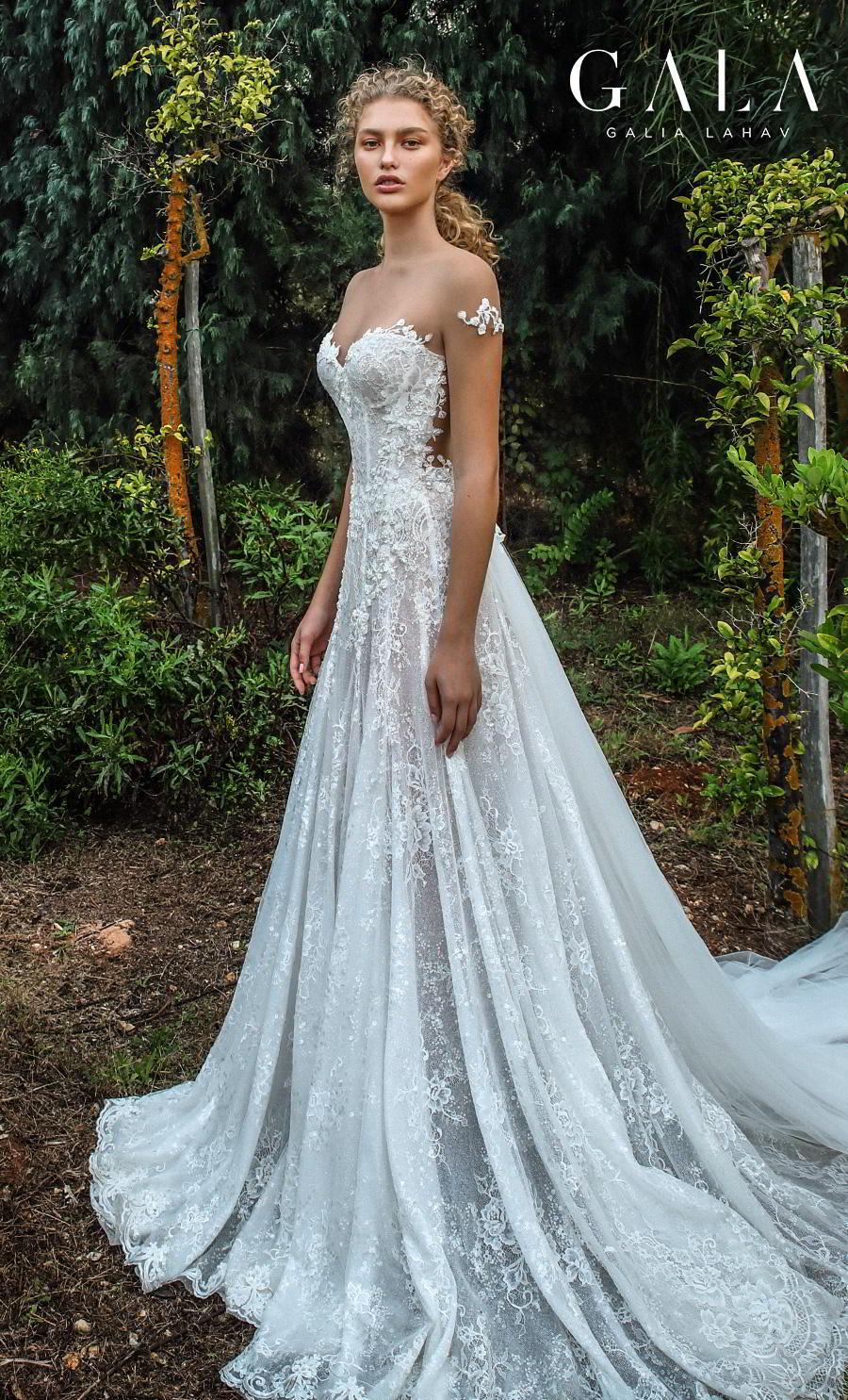 galia lahav gala fall 2019 bridal sheer short sleeves illusion jewel sweetheart neckline full embellishment elegant princess romantic a  line wedding dress chapel train (203) mv
