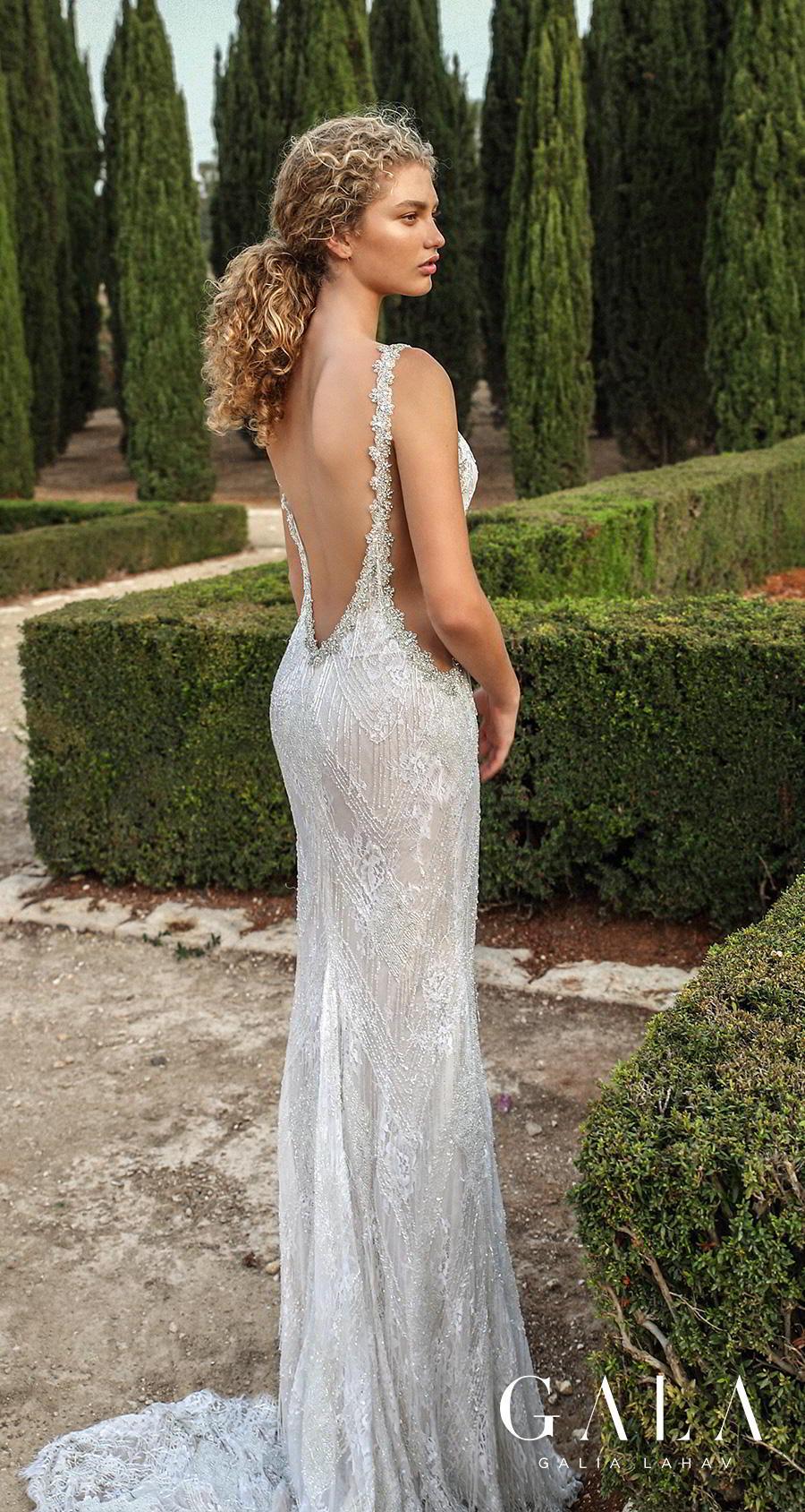 galia lahav gala fall 2019 bridal sleeveless illusion bateau deep v neck full embellishment open side glitzy glamorous elegant sheath wedding dress backless low v back sweep train (208) bv