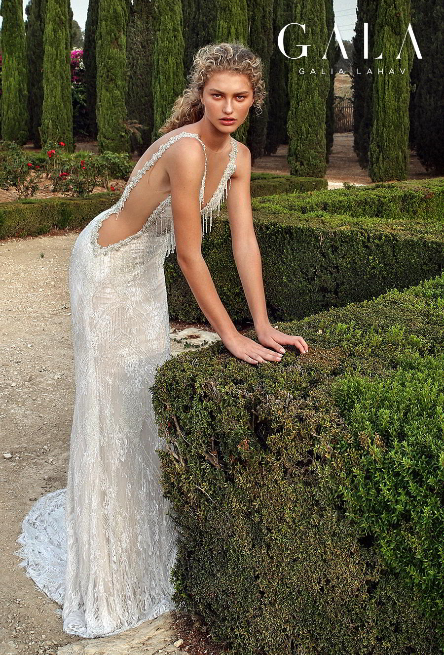 galia lahav gala fall 2019 bridal sleeveless illusion bateau deep v neck full embellishment open side glitzy glamorous elegant sheath wedding dress backless low v back sweep train (208) mv