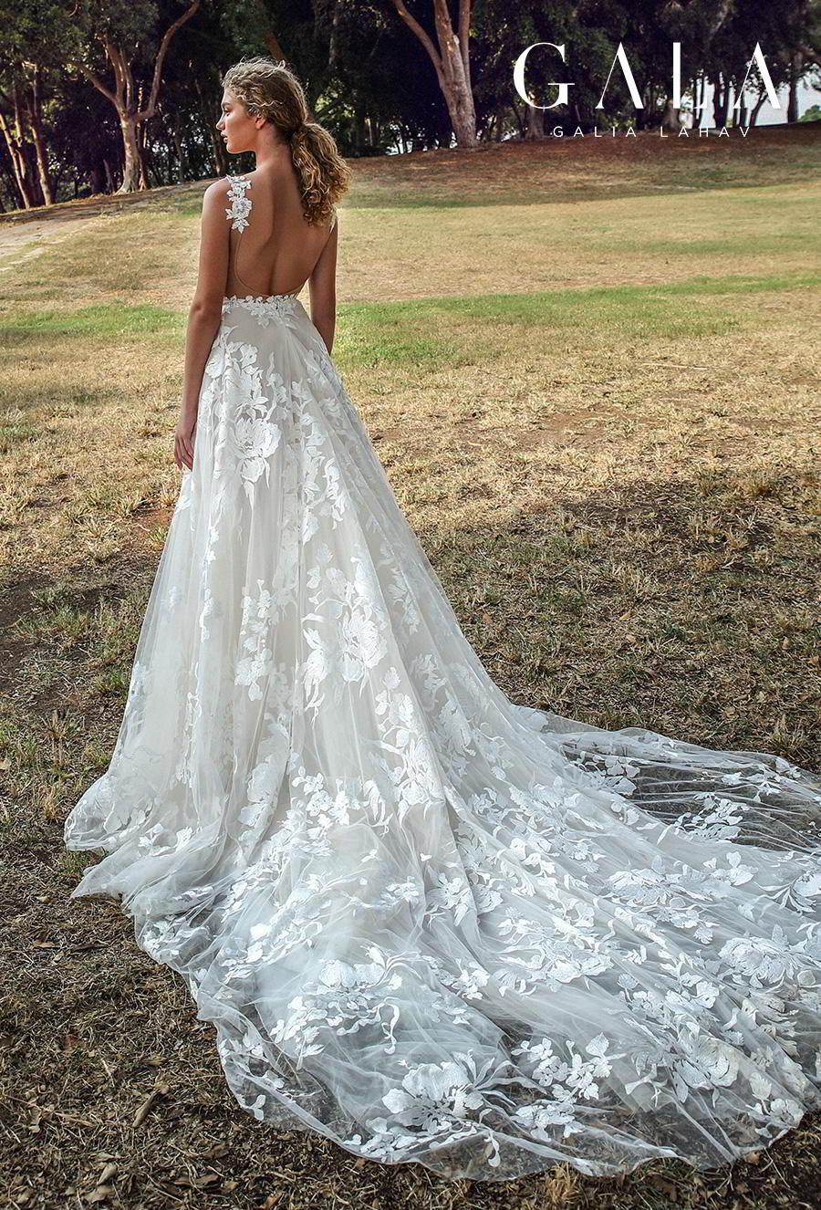 galia lahav gala fall 2019 bridal sleeveless thin lace strap deep v neck full embellishment romantic princess a  line wedding dress backless scoop back chapel train (210) bv