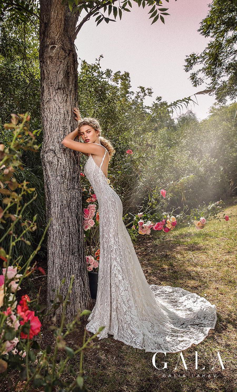 galia lahav gala fall 2019 bridal sleeveless withs trap deep v neck full embellishment elegant lace beautiful sheath wedding dress backless low back chapel train (207) bv