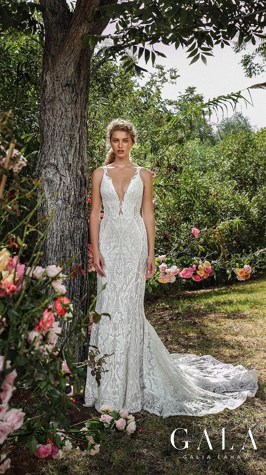 galia lahav gala fall 2019 bridal sleeveless withs trap deep v neck full embellishment elegant lace beautiful sheath wedding dress backless low back chapel train (207) mv
