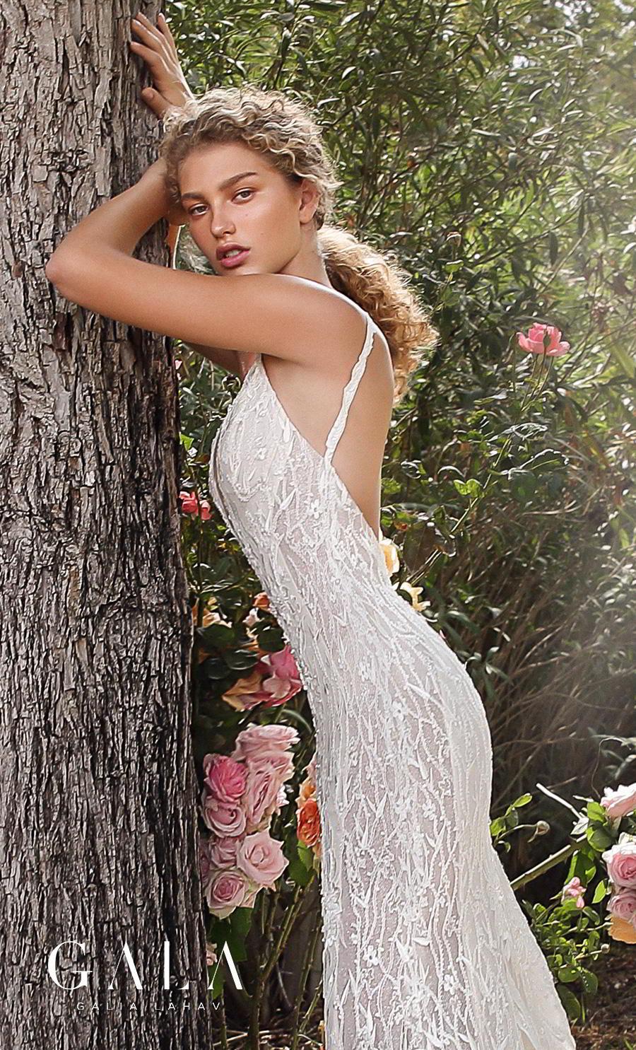 galia lahav gala fall 2019 bridal sleeveless withs trap deep v neck full embellishment elegant lace beautiful sheath wedding dress backless low back chapel train (207) zbv