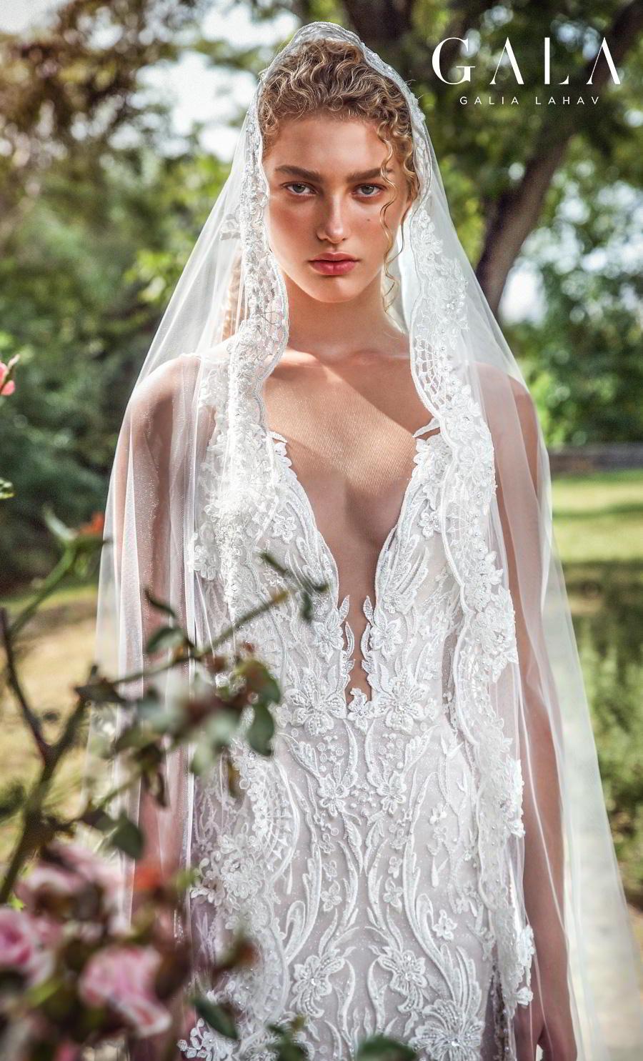 galia lahav gala fall 2019 bridal sleeveless withs trap deep v neck full embellishment elegant lace beautiful sheath wedding dress backless low back chapel train (207) zv