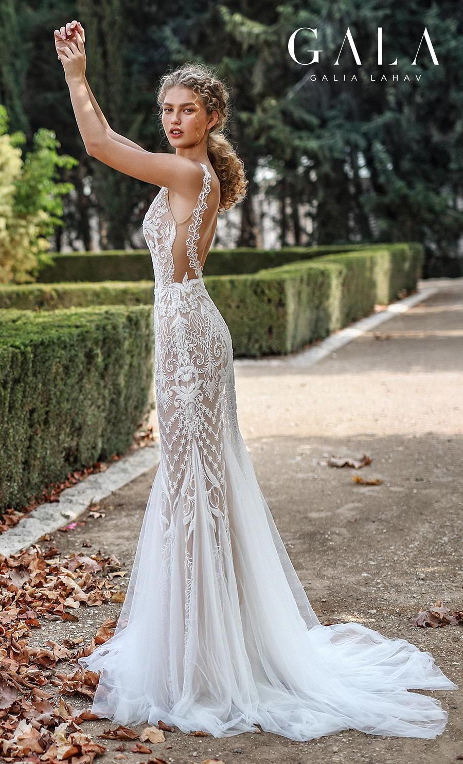 galia lahav gala fall 2019 bridal spaghetti strap deep plunging v neck full embellishment elegant glamorous lace fit and flare mermaid wedding dress backless scoop back medium train (212) sdv