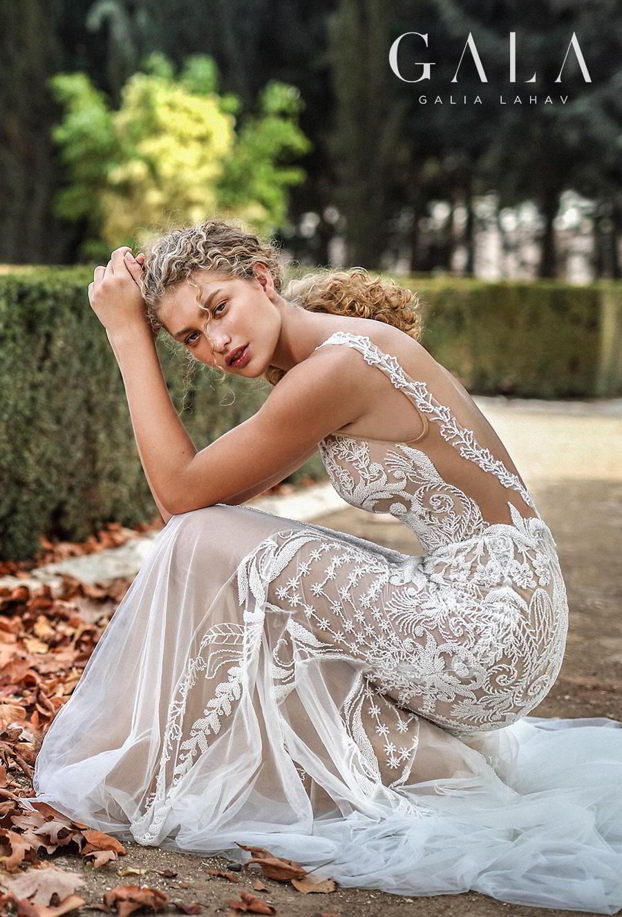 galia lahav gala fall 2019 bridal spaghetti strap deep plunging v neck full embellishment elegant glamorous lace fit and flare mermaid wedding dress backless scoop back medium train (212) zsdv