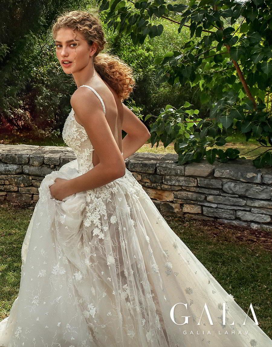 galia lahav gala fall 2019 bridal spagjhetti strap deep v neck heavily embellished bodice romantic sexy pretty soft a  line wedding dress backless open scoop back chapel train (204) zsdv