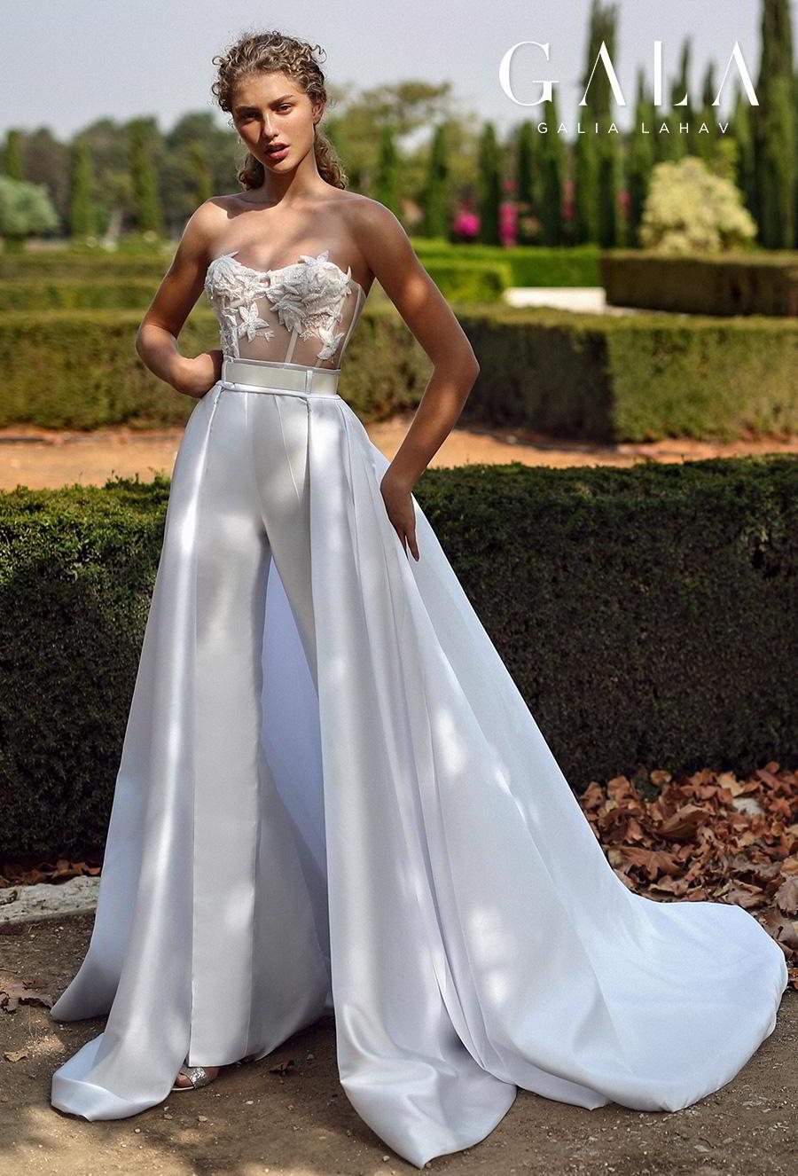 galia lahav gala fall 2019 bridal strapless semi sweetheart neckline heavily embellished bodice bustier modern chic pants a  line wedding dress overskirt chapel train (211) mv