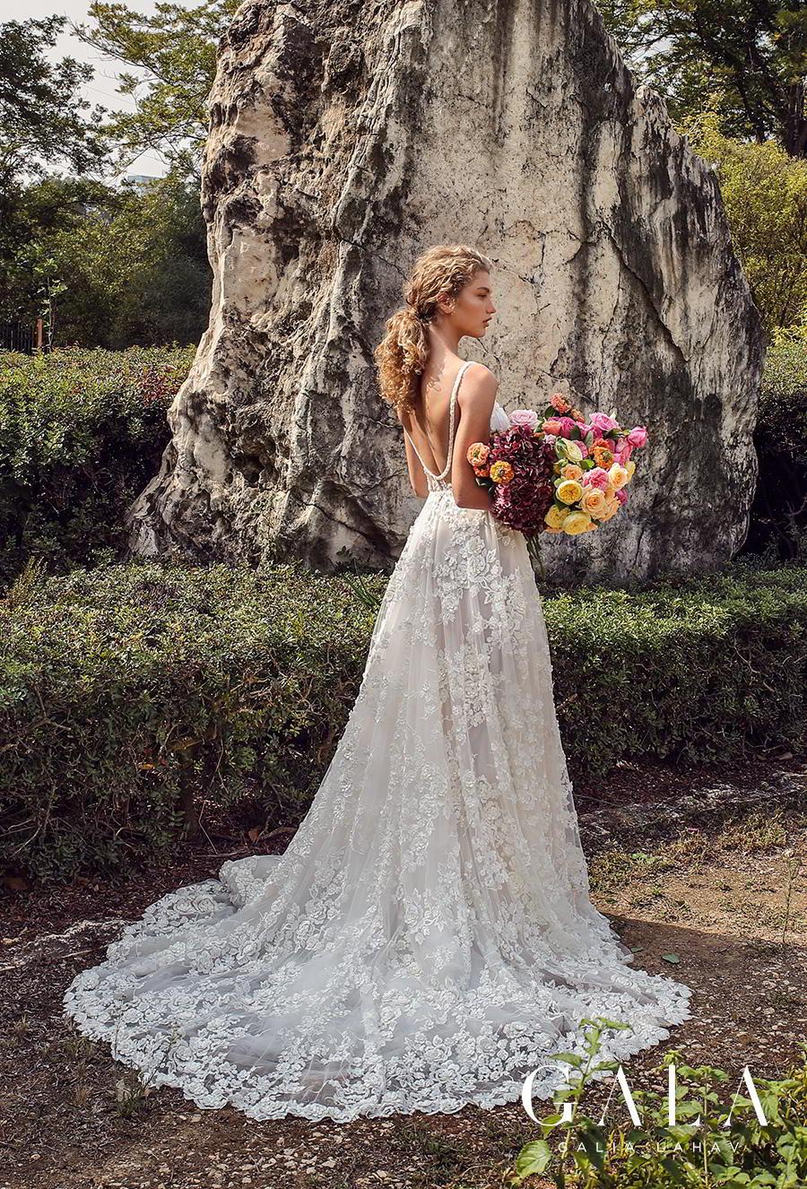 galia lahav gala fall 2019 bridal thin spaghetti strap deep plunging sweetheart neckline full embellishment slit skirt romantic a  line wedding dress backless scoop back chapel train (205) bv