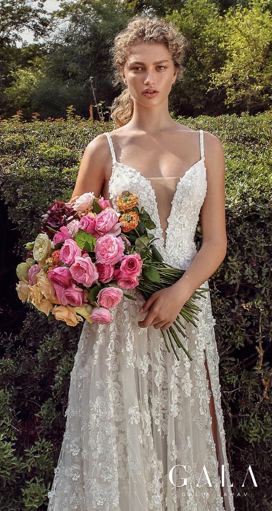 galia lahav gala fall 2019 bridal thin spaghetti strap deep plunging sweetheart neckline full embellishment slit skirt romantic a  line wedding dress backless scoop back chapel train (205) lv