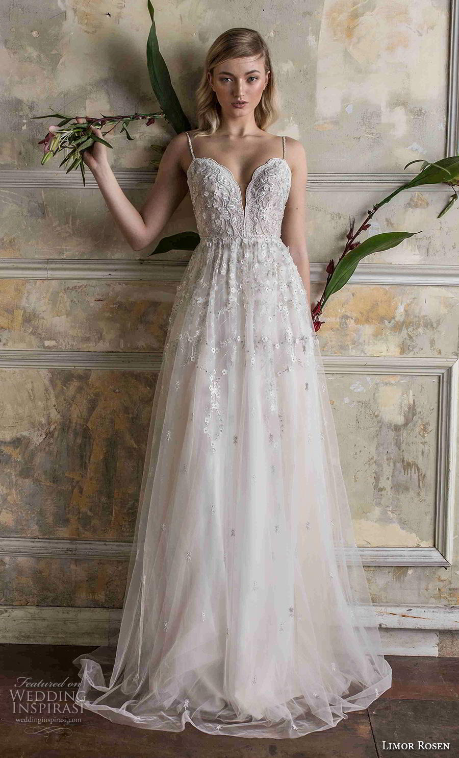 limor rosen 2019 bridal thin strap deep plunging sweetheart neckline heavily embellished bodice romantic a  line wedding dress backless sweep train (1) mv