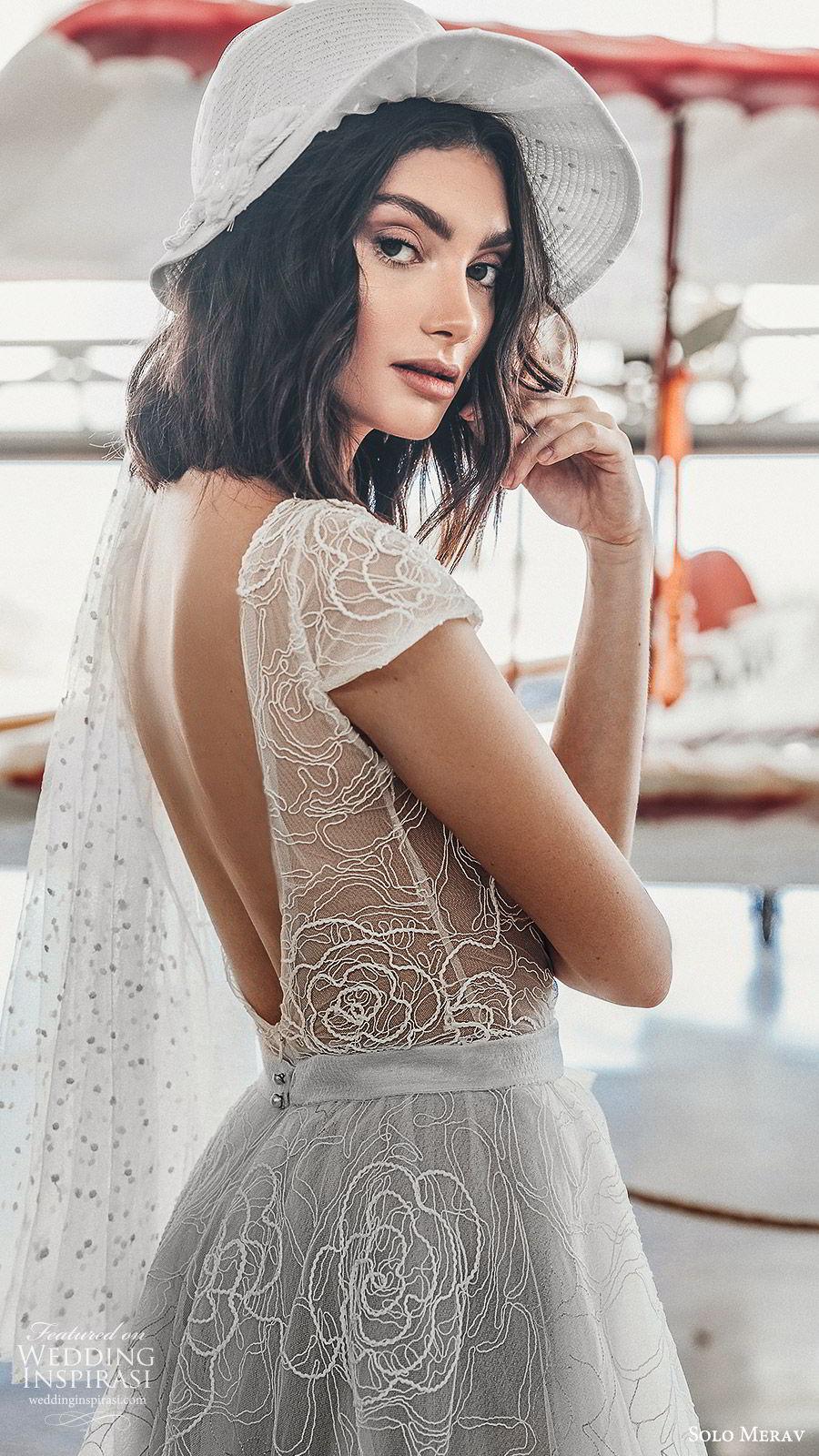 solo merav 2019 bridal cap sleeves jewel neckline sheer bodice embroidered a line tea length short wedding dress (10) bv low back vintage romantic