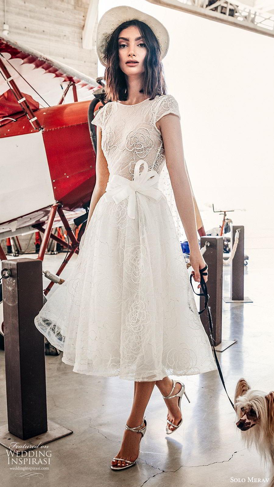solo merav 2019 bridal cap sleeves jewel neckline sheer bodice embroidered a line tea length short wedding dress (10) mv vintage romantic