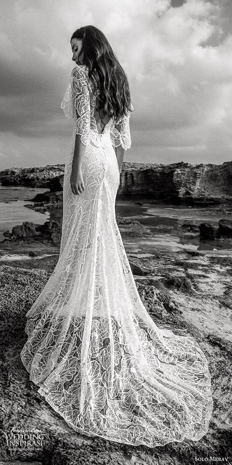 solo merav 2019 bridal flutter sleeves plunging v neckline sheath embellished lace wedding dress (2) bv low back sweep train bohemian romantic