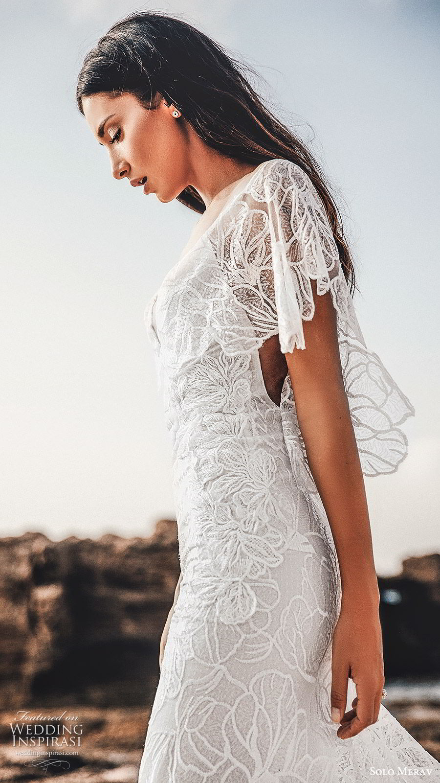 solo merav 2019 bridal flutter sleeves plunging v neckline sheath embellished lace wedding dress (2) zsv sweep train bohemian romantic