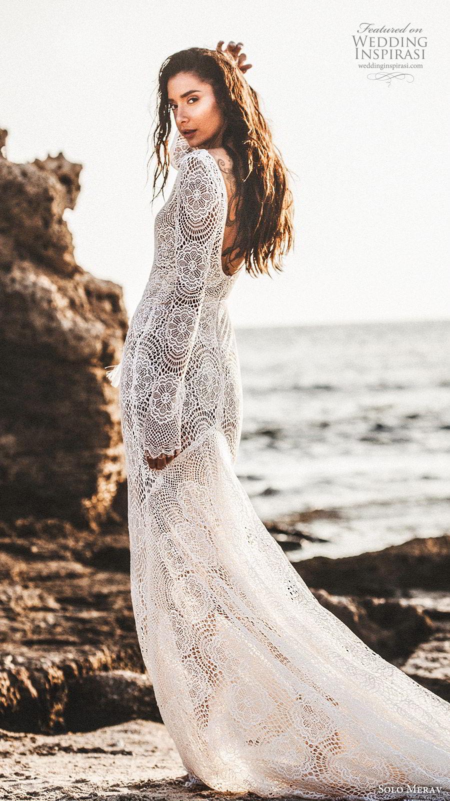 solo merav 2019 bridal long sleeves plunging v neckline sheath lace mermaid wedding dress (1) bv scoop back sweep train elegant boho romantic