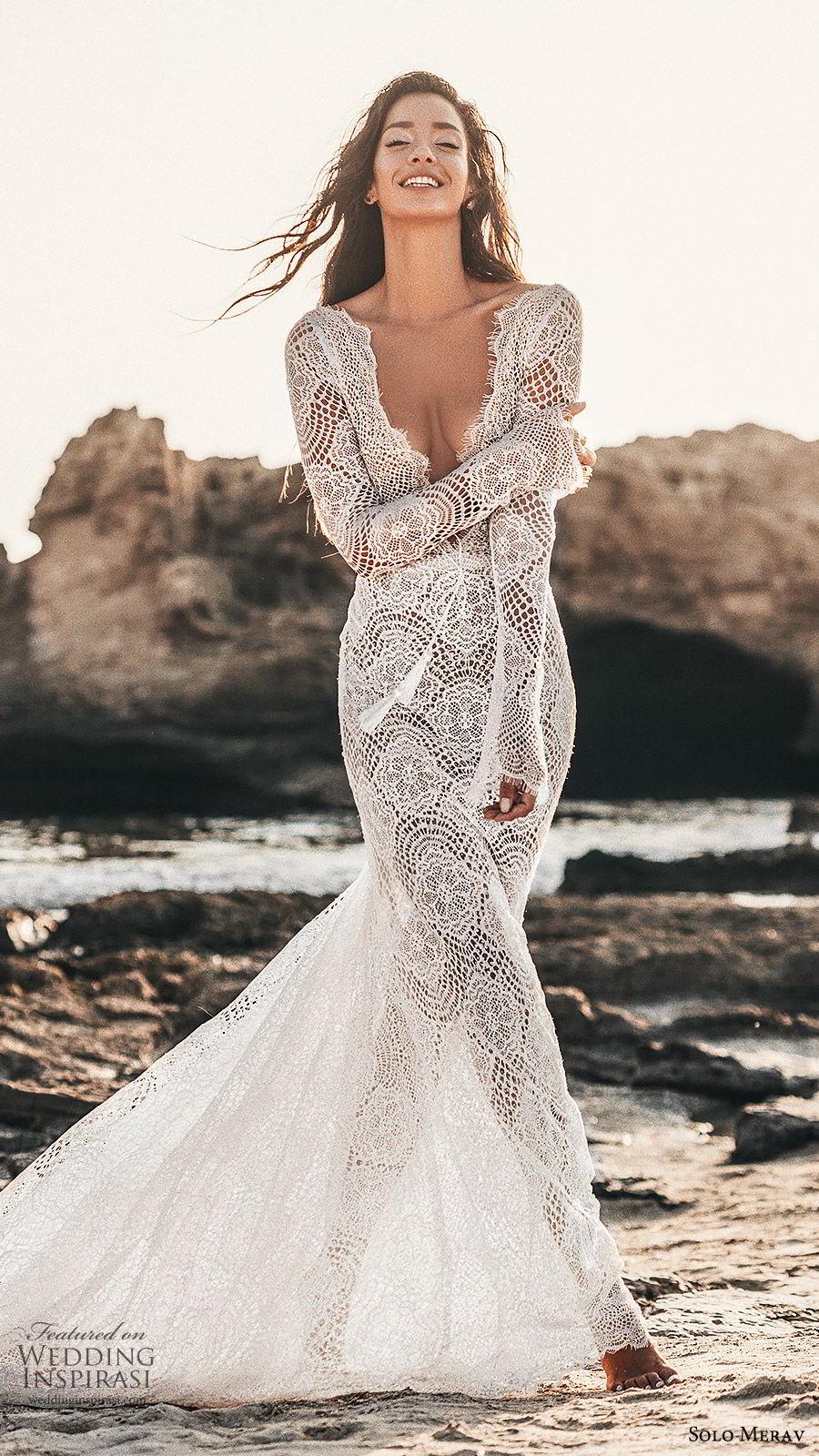 solo merav 2019 bridal long sleeves plunging v neckline sheath lace mermaid wedding dress (1) mv sweep train elegant boho romantic