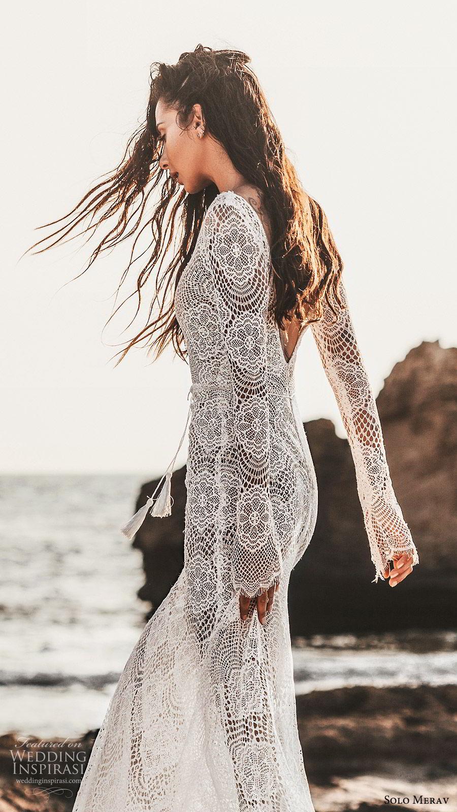 solo merav 2019 bridal long sleeves plunging v neckline sheath lace mermaid wedding dress (1) zbv scoop back sweep train elegant boho romantic
