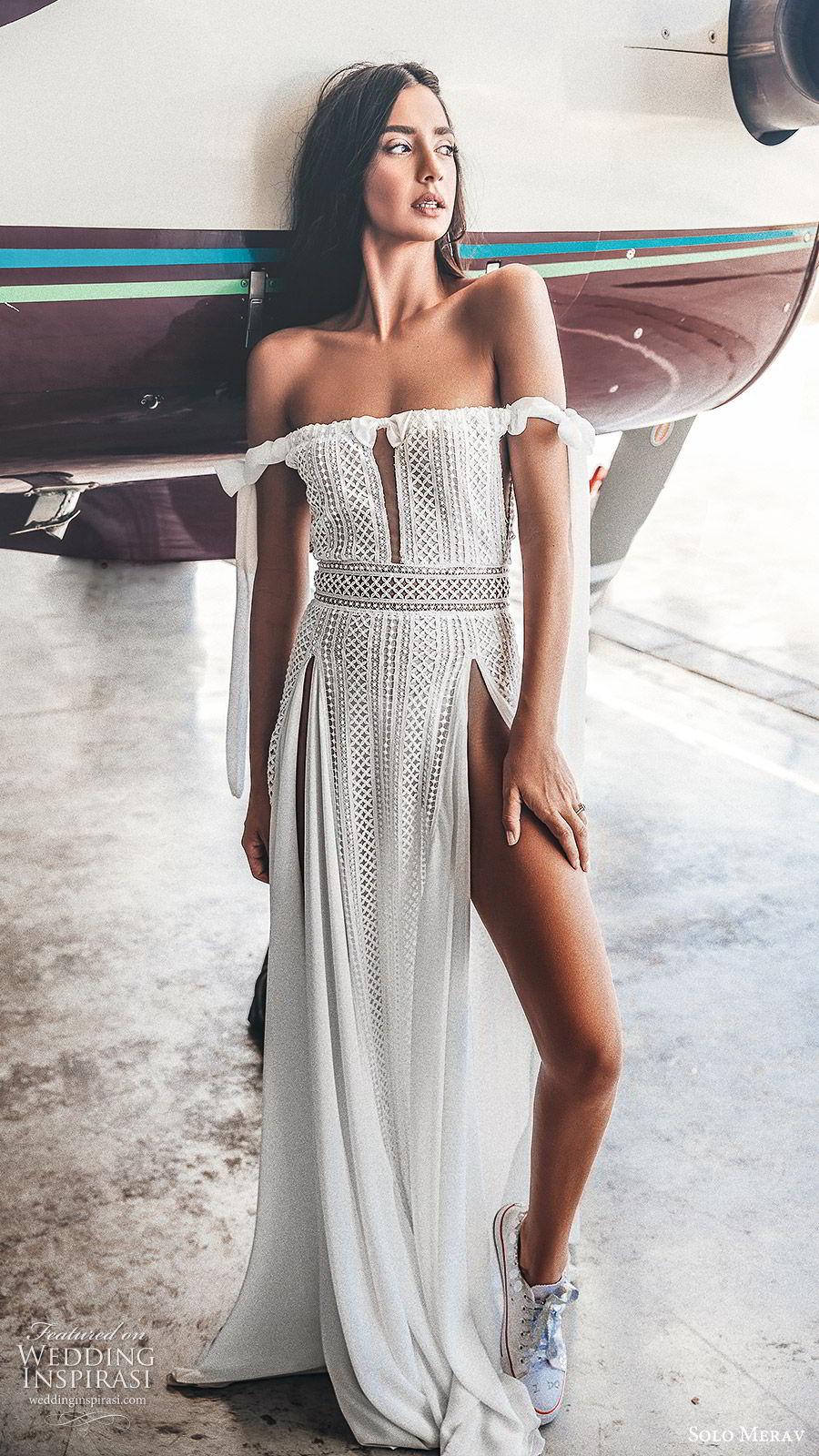 solo merav 2019 bridal off shoulder straight across neckline embellished column a line wedding dress (7) mv double slit boho romantic