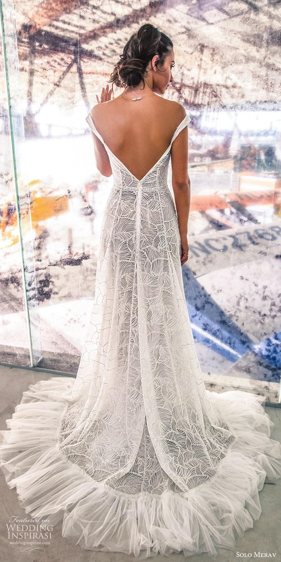 solo merav 2019 bridal off shoulder straps plunging sweetheart neckline embellished a line ball gown wedding dress (4) bv pockets low back chapel train modern elegant