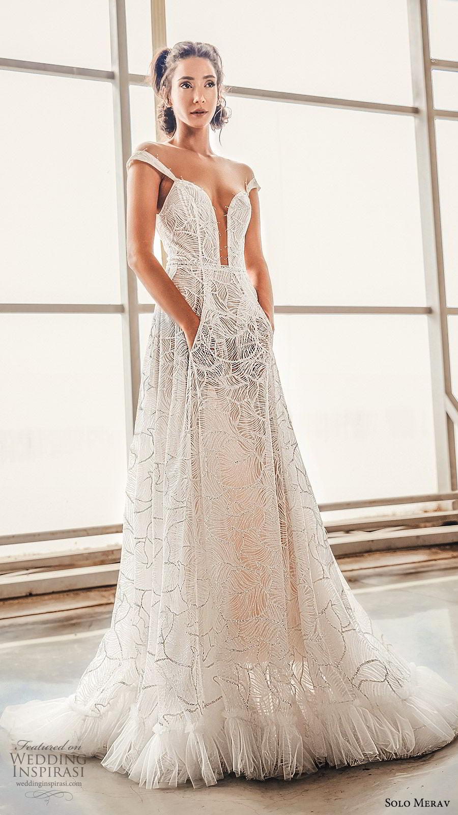 solo merav 2019 bridal off shoulder straps plunging sweetheart neckline embellished a line ball gown wedding dress (4) mv pockets chapel train modern elegant