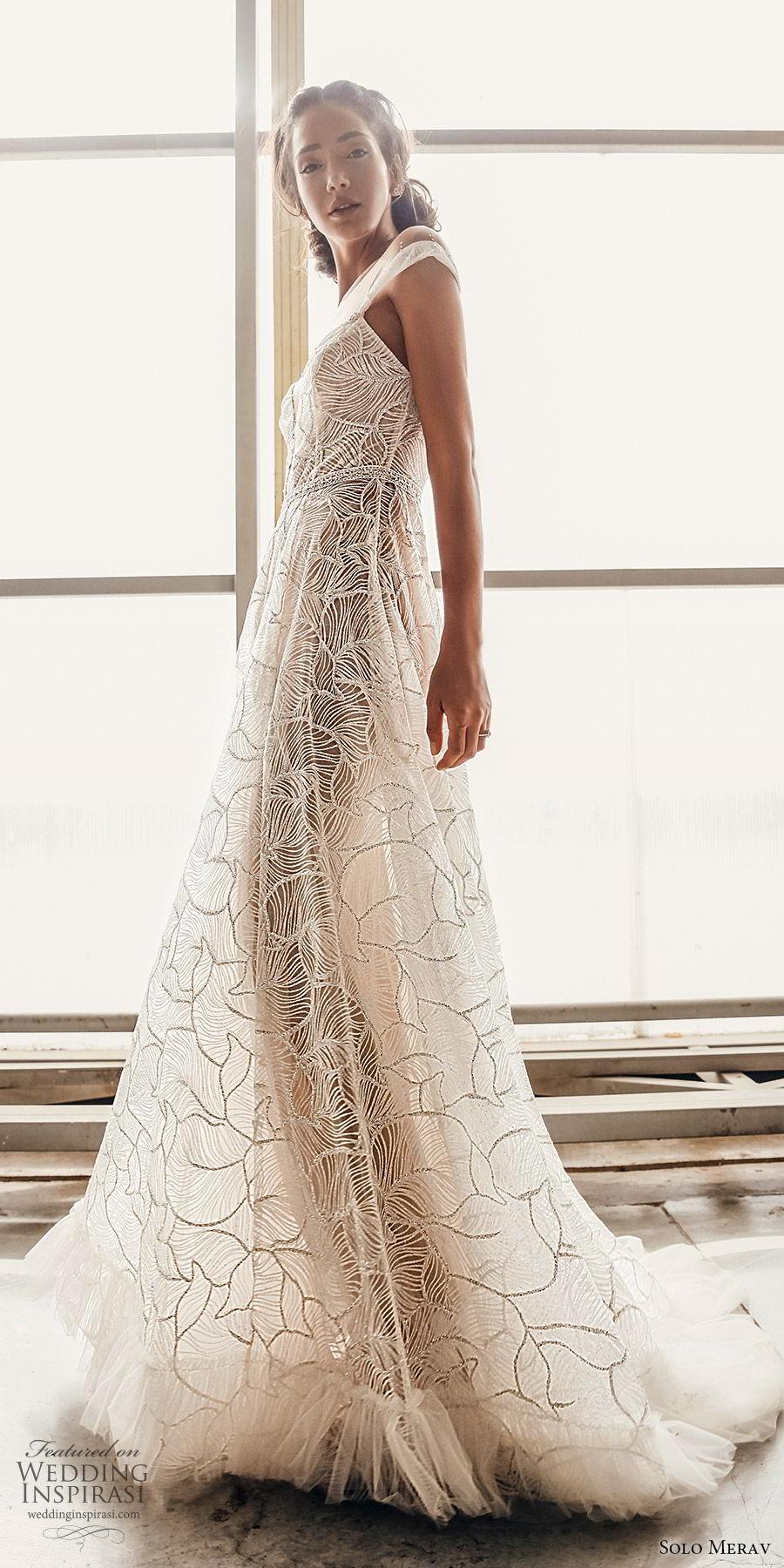 solo merav 2019 bridal off shoulder straps plunging sweetheart neckline embellished a line ball gown wedding dress (4) zv pockets chapel train modern elegant