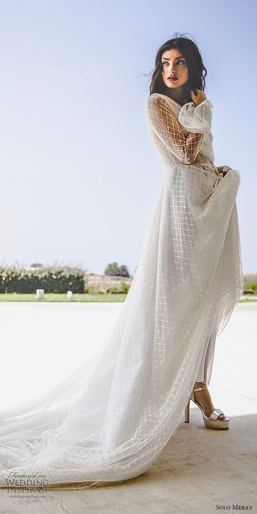 solo merav 2019 bridal one shoulder illusion long bell sleeve a line wedding dress (5) mv chapel train modern romantic