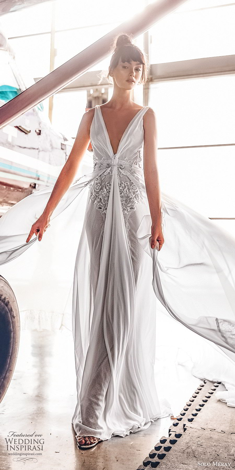 solo merav 2019 bridal sleeveless deep v neckline draped bodice embellished waist column a line wedding dress (3) mv sweep train glam romantic
