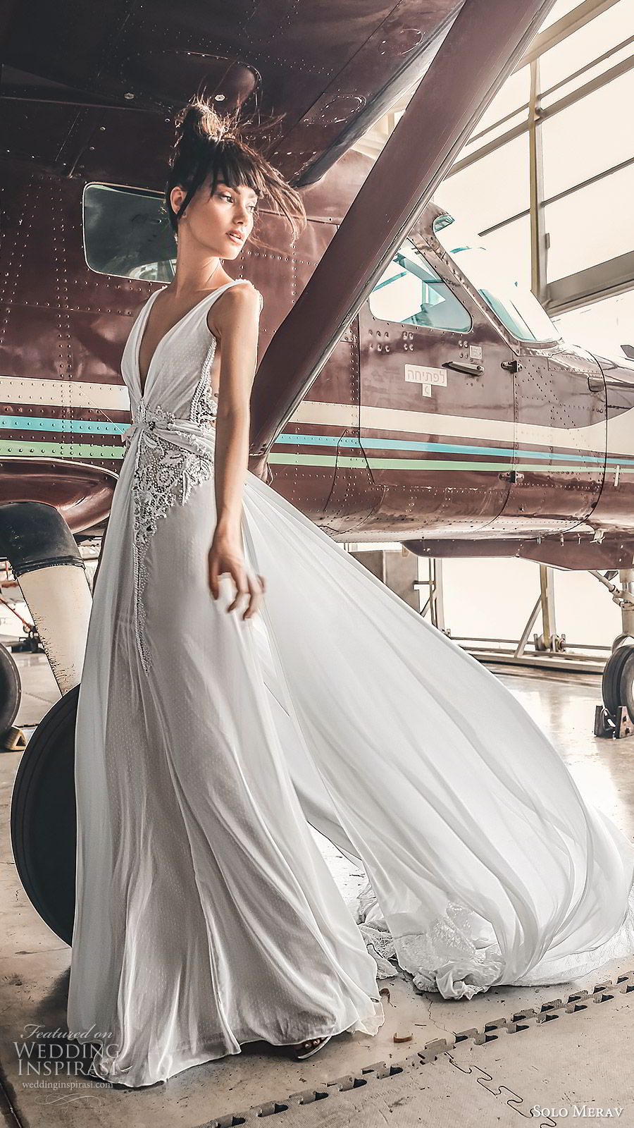 solo merav 2019 bridal sleeveless deep v neckline draped bodice embellished waist column a line wedding dress (3) sv  sweep train glam romantic