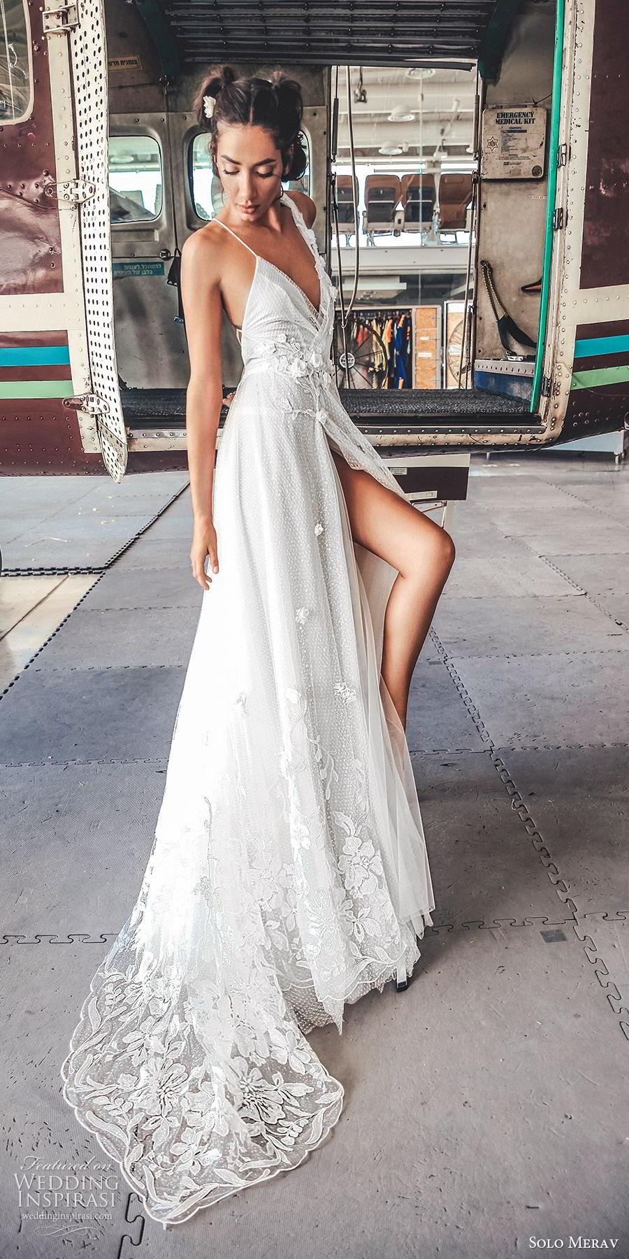 solo merav 2019 bridal sleeveless embellished straps sweetheart neckline surplice bodice a line ball gown wedding dress (6) bv slit skirt sweep train romantic
