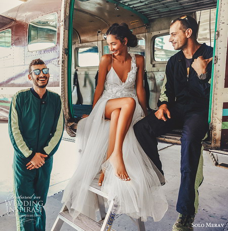 solo merav 2019 bridal sleeveless embellished straps sweetheart neckline surplice bodice a line ball gown wedding dress (6) mv  slit skirt sweep train romantic