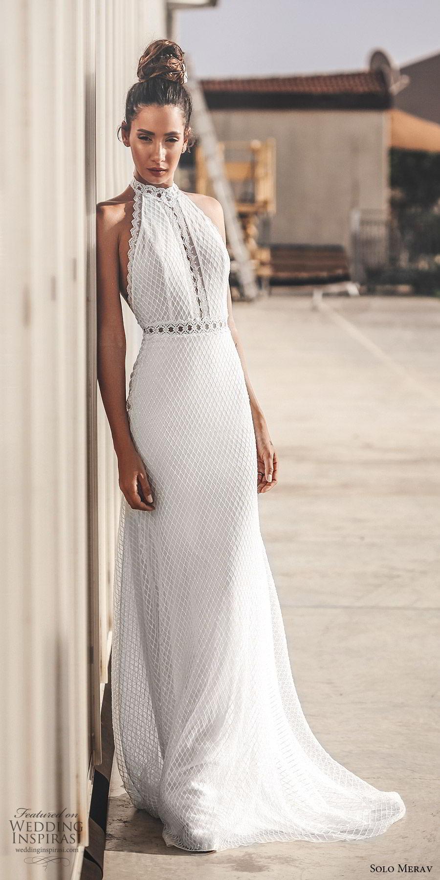 solo merav 2019 bridal sleeveless halter neck fully embellished sheath trumpet wedding dress (8) mv sweep train elegant modern romantic