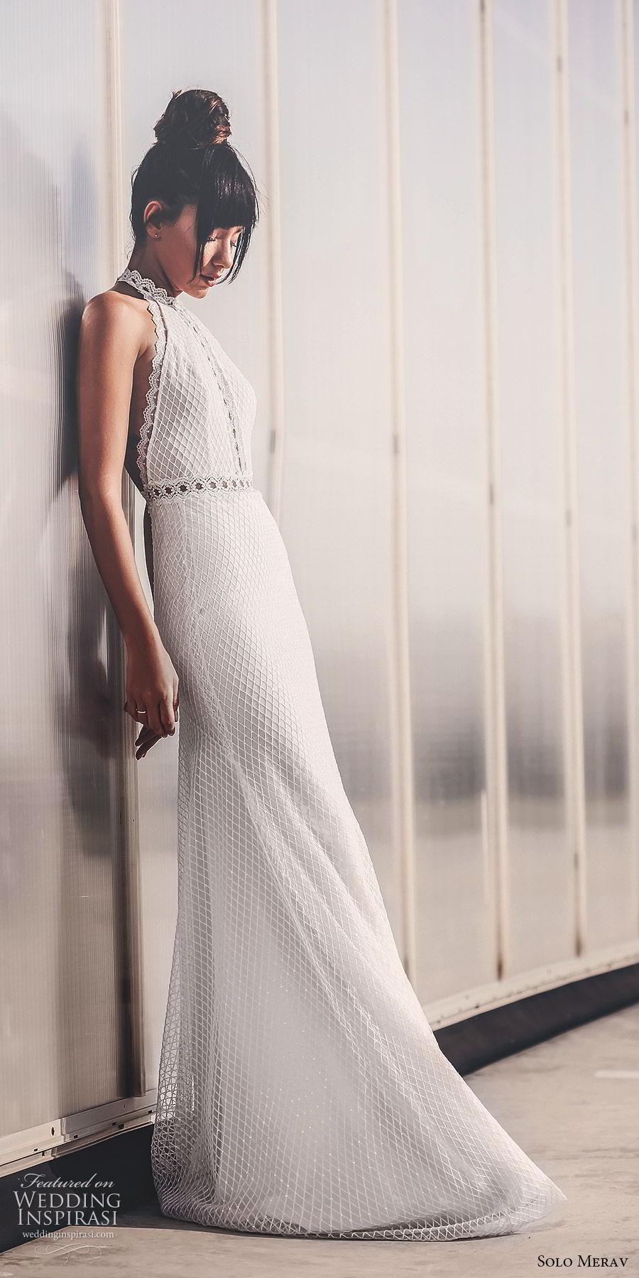 solo merav 2019 bridal sleeveless halter neck fully embellished sheath trumpet wedding dress (8) sv sweep train elegant modern romantic