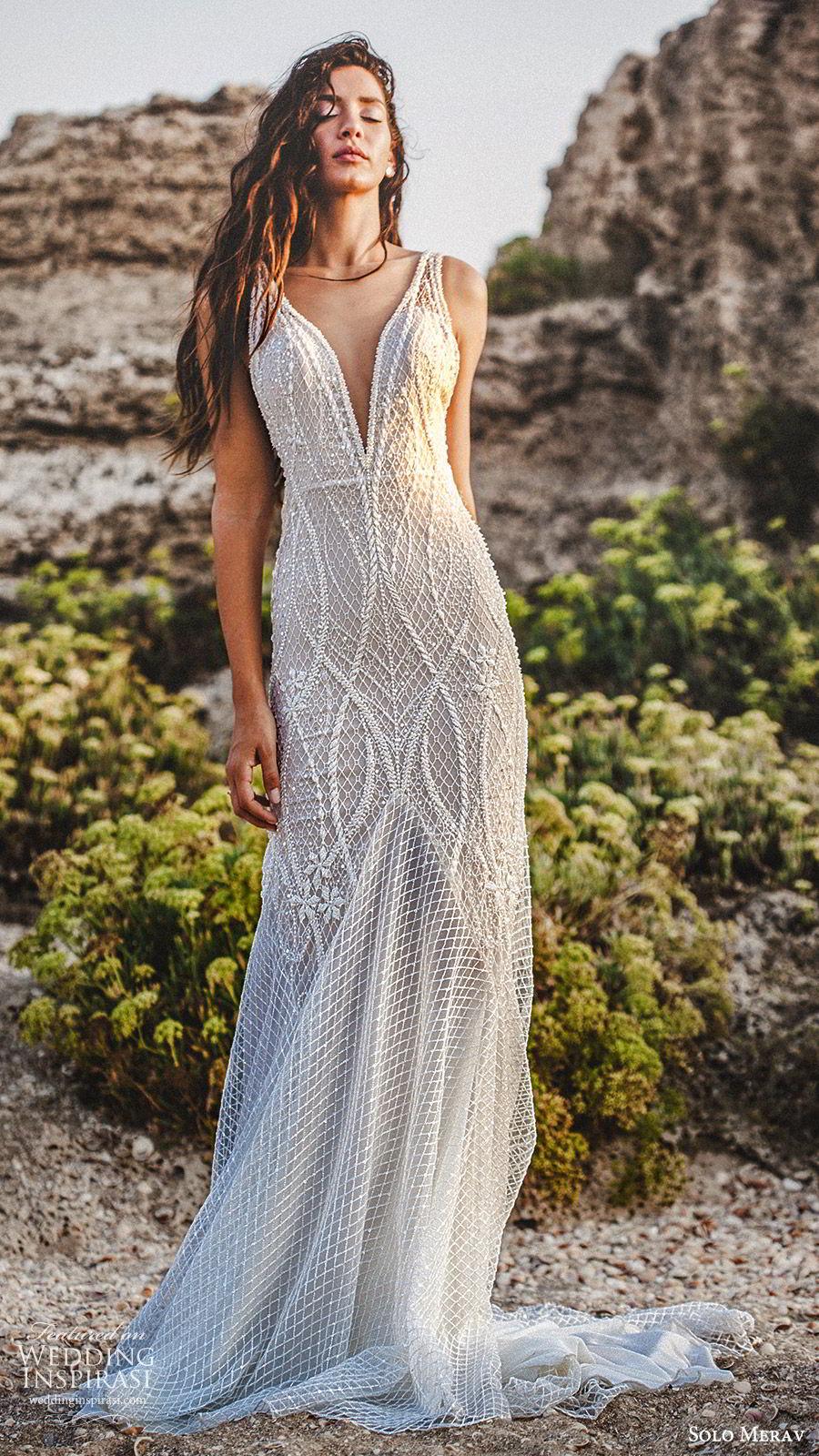 solo merav 2019 bridal sleeveless thick staps deep v neckline fully embellished sheath wedding dress (11) mv low back glam glitzy elegant