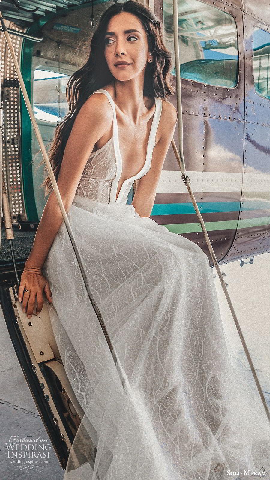 solo merav 2019 bridal sleeveless thick straps deep v neckline fully embellished a line ball gown wedding dress (9) mv   elegant romantic modern