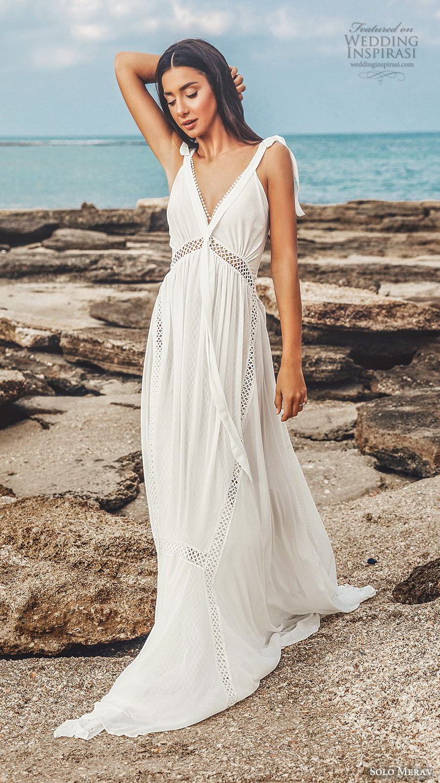 solo merav 2019 bridal sleeveless thick straps v neckline embellished waist soft empire a line wedding dress (12) mv boho romantic