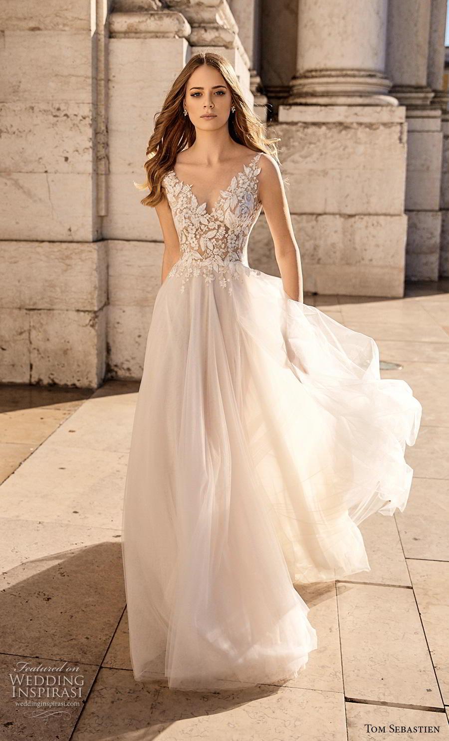 tom sebastian 2019 bridal sleeveless v neck heavily embellished bodice romantic soft a line wedding dress v back (7) mv