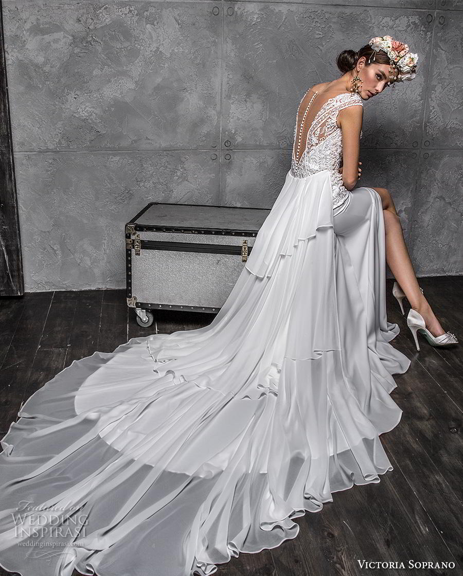 victoria soprano 2020 bridal cap sleeves illusion bateau heavily embellished bodice slit skirt elegant modified a line wedding dress sheer button back chapel train (2) bv