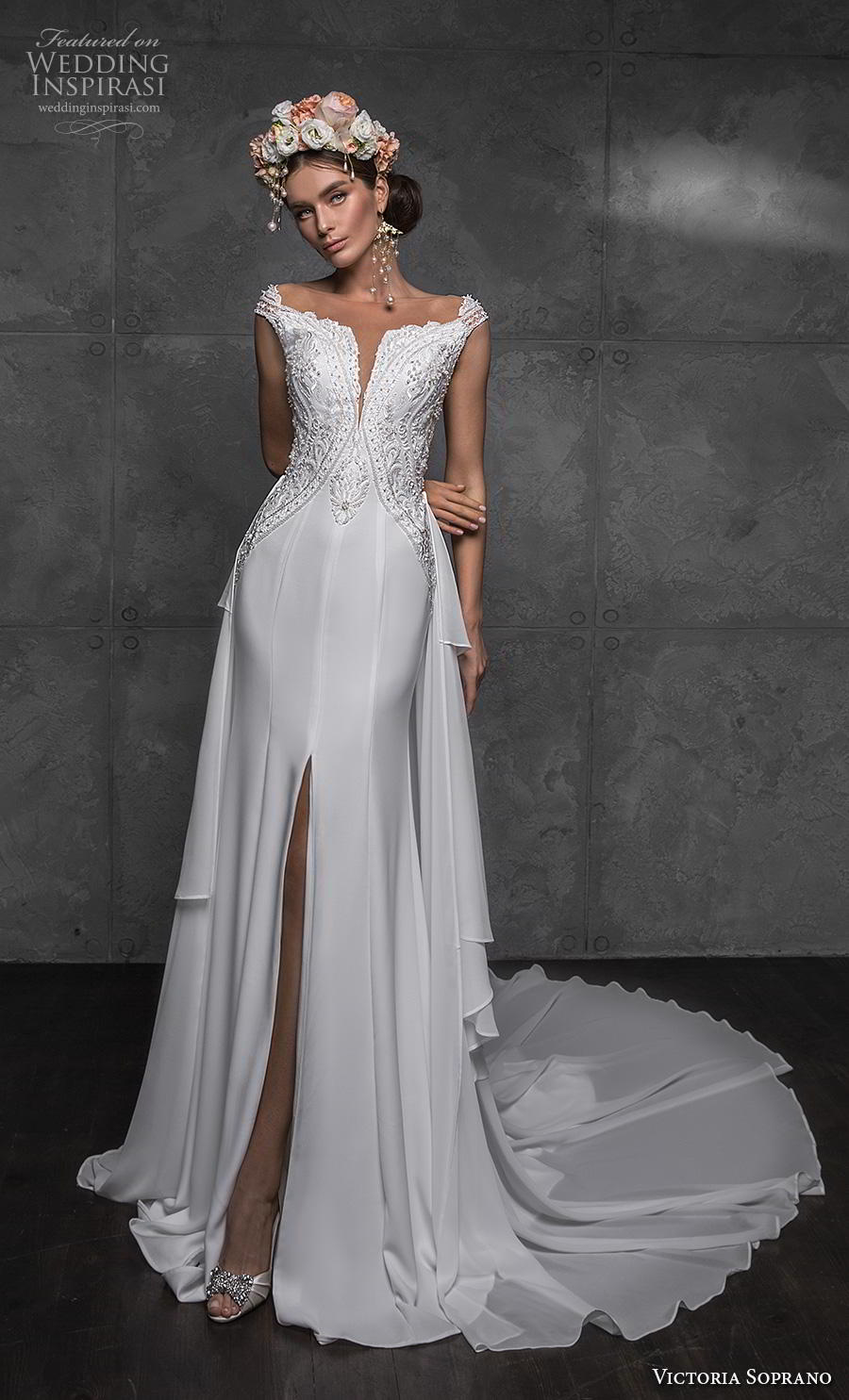 victoria soprano 2020 bridal cap sleeves illusion bateau heavily embellished bodice slit skirt elegant modified a line wedding dress sheer button back chapel train (2) mv