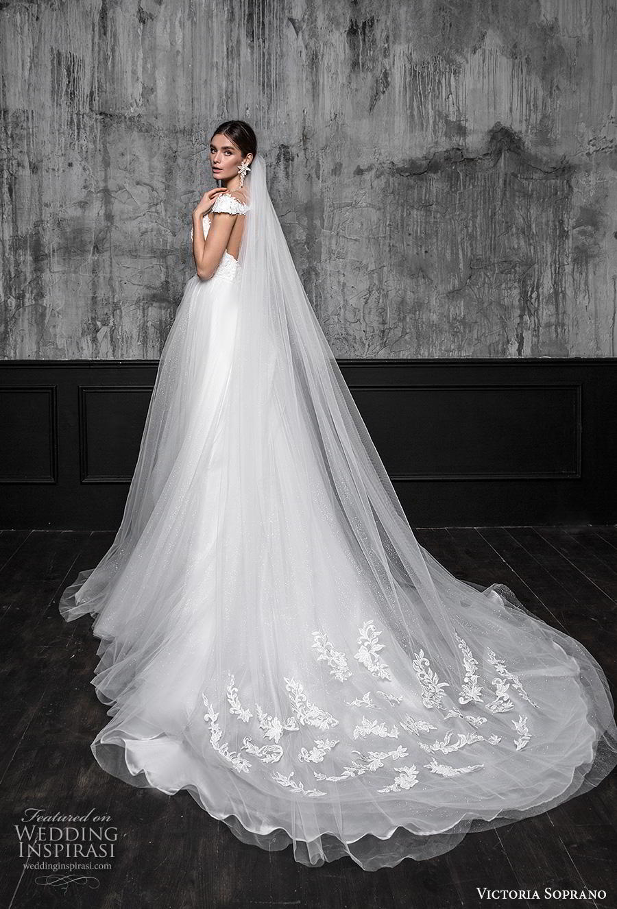 victoria soprano 2020 bridal cap sleeves illusion bateau plunging sweetheart neckline heavily embellished bodice slit skirt romantic a  line wedding dress sheer button back chapel train (14) bv