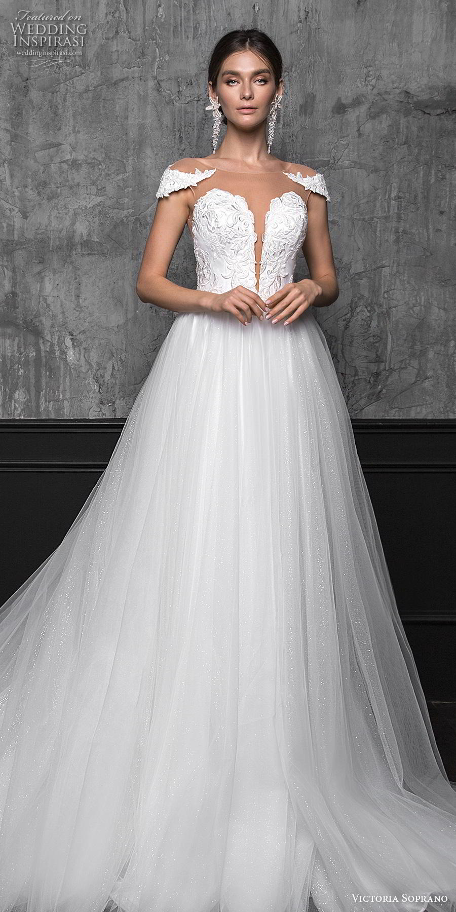 victoria soprano 2020 bridal cap sleeves illusion bateau plunging sweetheart neckline heavily embellished bodice slit skirt romantic a line wedding dress sheer button back chapel train (14) lv