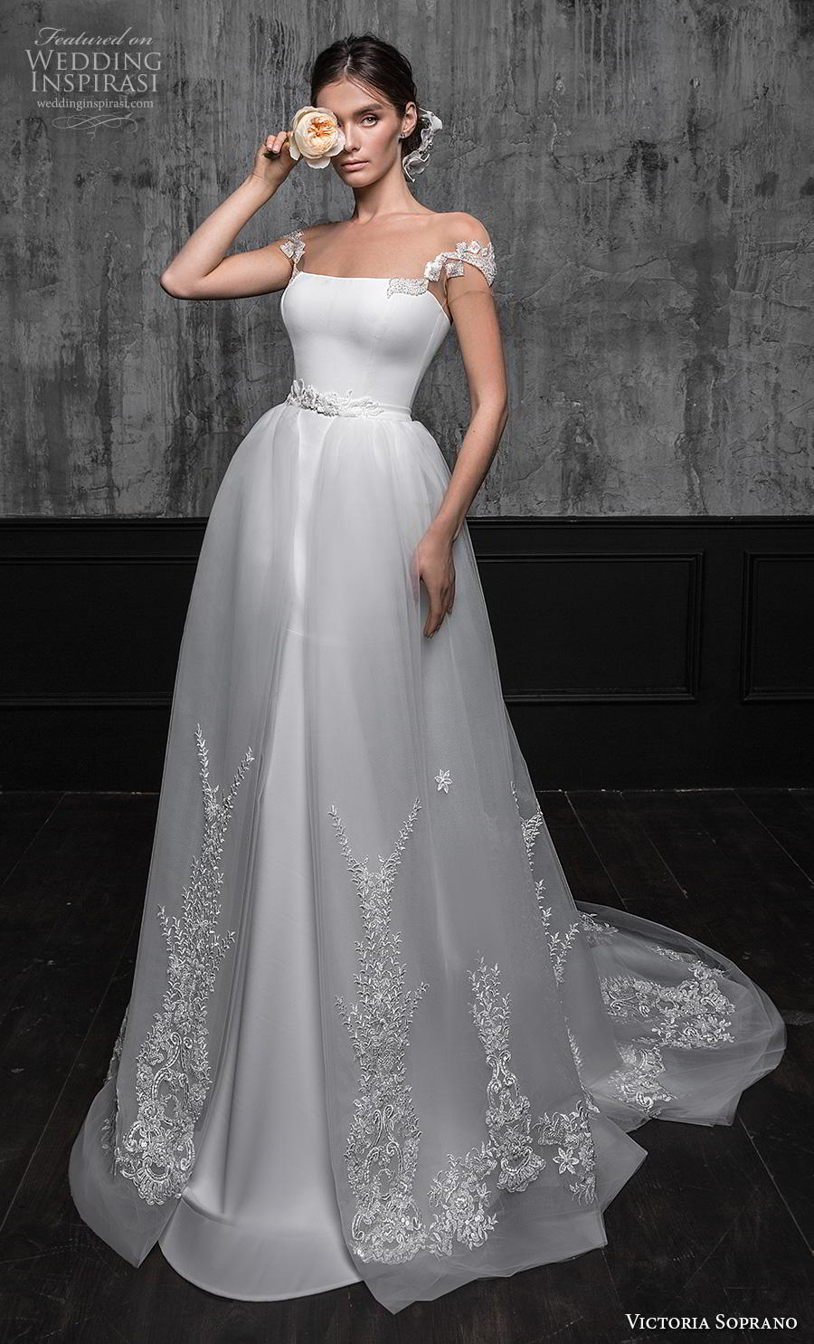 victoria soprano 2020 bridal cap sleeves illusion bateau straight across neckline simple clean fit and flare wedding dress a line overskirt corset back short train (13) mv