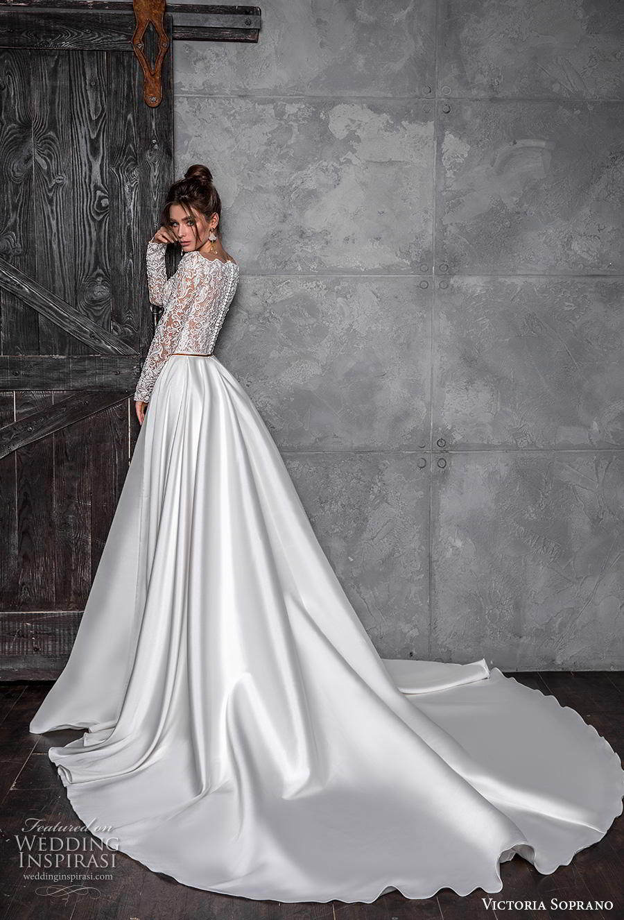 victoria soprano 2020 bridal long sleeves bateau neckline heavily embellished bodice satin skirt glamorous a line wedding dress covered lace back chapel train (7) bv
