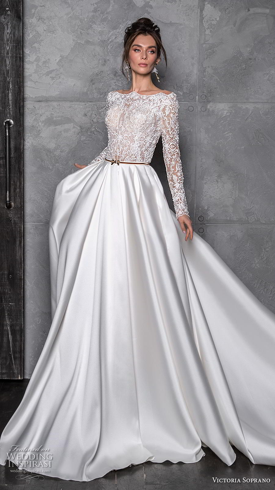 victoria soprano 2020 bridal long sleeves bateau neckline heavily embellished bodice satin skirt glamorous a  line wedding dress covered lace back chapel train (7) mv