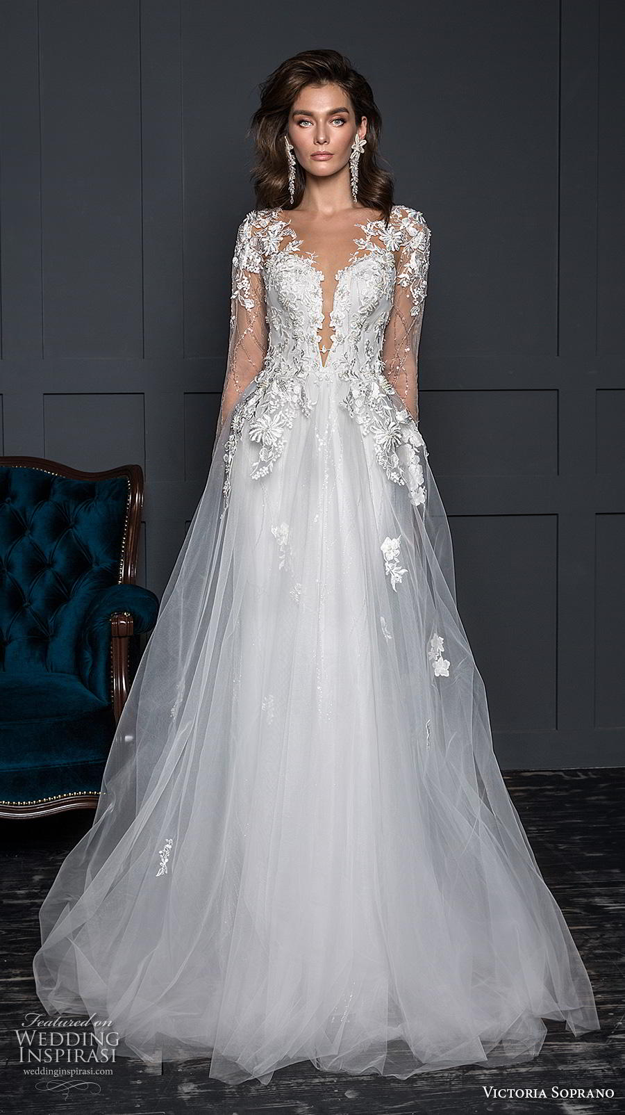 victoria soprano 2020 bridal long sleeves deep plunging sweetheart neckline heavily embellished bodice romantic elegant a line wedding dress sheer button back sweep train (11) mv