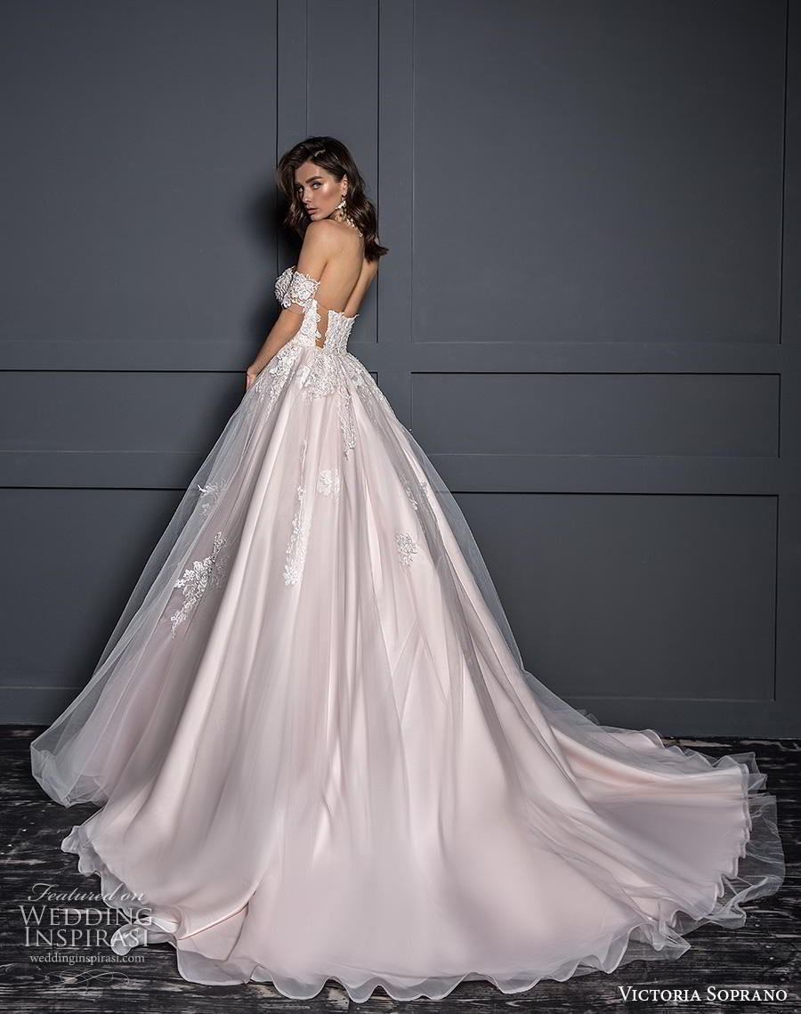 victoria soprano 2020 bridal off the shoulder sweetheart neckline heavily embellished bodice blush ball gown a  line wedding dress mid back chapel train (9) bv