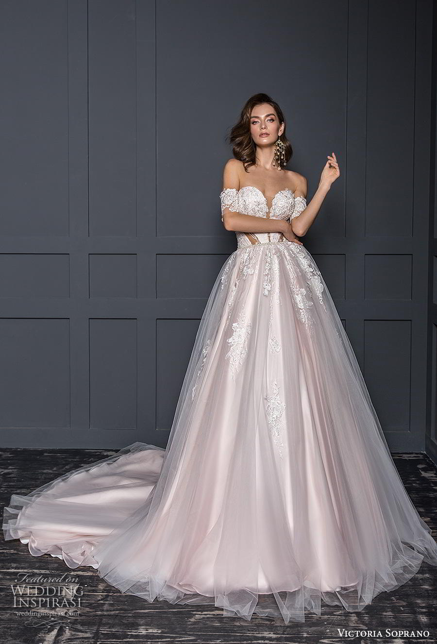 victoria soprano 2020 bridal off the shoulder sweetheart neckline heavily embellished bodice blush ball gown a line wedding dress mid back chapel train (9) mv